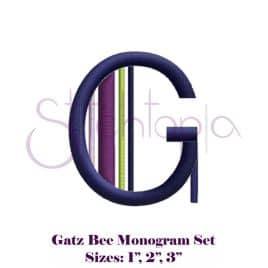 Gatz Bee Embroidery Monogram Set – 1″, 2″, 3″
