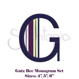 Gatz Bee Embroidery Monogram Set – 4″, 5″, 6″