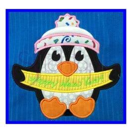Penguin Happy New Year Applique