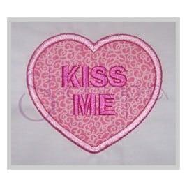 Candy Heart Applique – Kiss Me