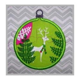 Christmas Ornament Applique Design – Round