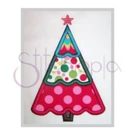 Christmas Tree Applique Design – Scalloped