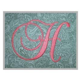Swirl Script Embroidery Monogram – 4″, 5″, 6″