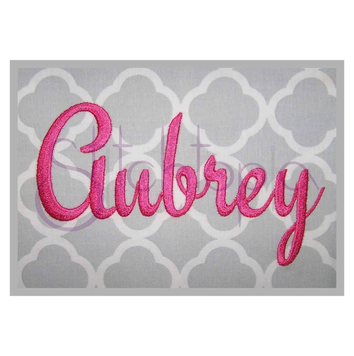 aubrey embroidery font set