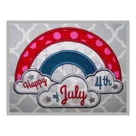 Fourth of July Rainbow Applique Design