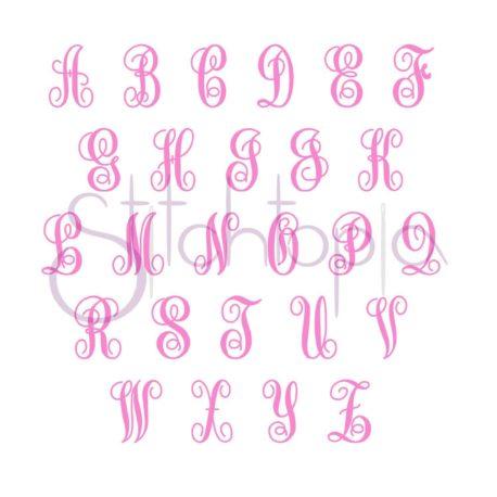 Stitchtopia Elegant Satin Monogram Set All Letters b