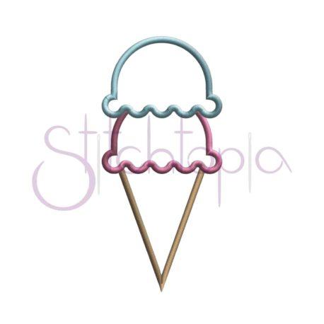 Stitchtopia Ice Cream Cone Applique Double