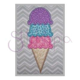 Ice Cream Cone Applique – Triple Scoop