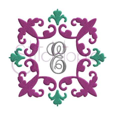 Stitchtopia Vintage Damask Embroidery Frame with Elegant Mongram Set