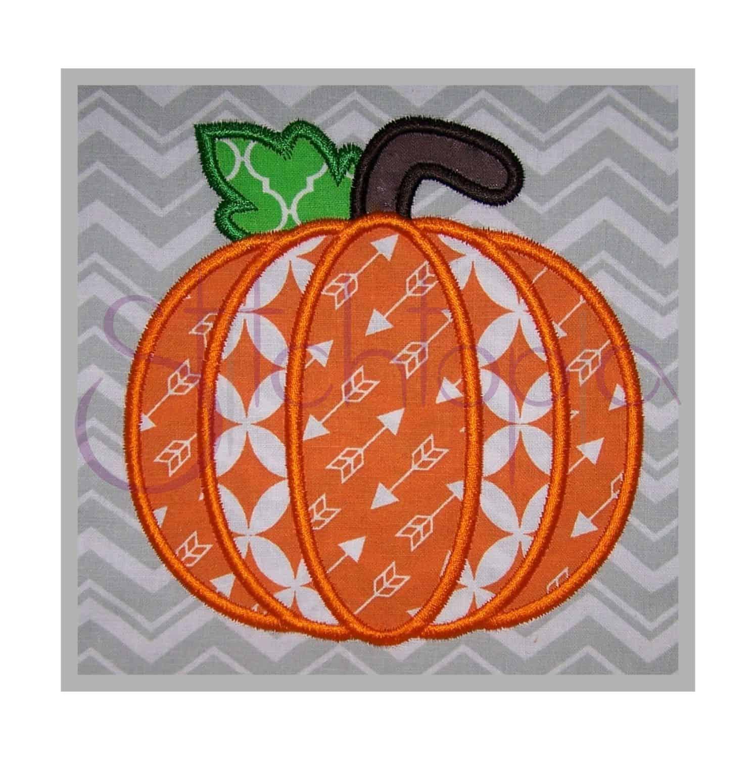 Pumpkin Applique Design 1 Stitchtopia