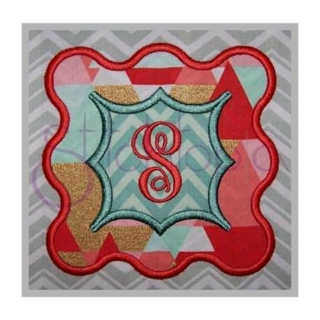 Stitchtopia Funky Wave Applique Frame 2 Fabric with Elegant Monogram Set