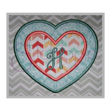 Stitchtopia Heart Applique Frame 2 Fabric with Harper Monogram Set