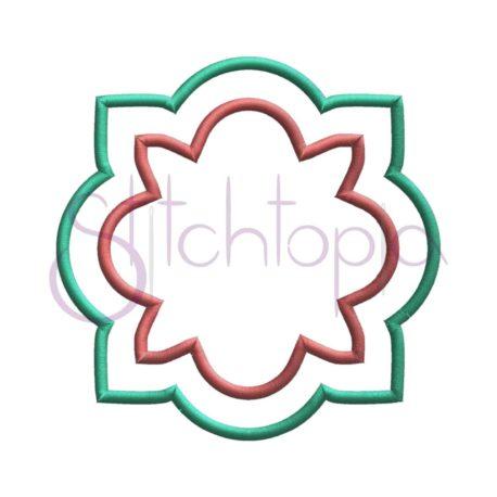 Stitchtopia Quatrefoil Flower Applique Frame 2 Fabric