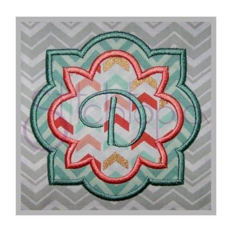 Stitchtopia Quatrefoil Flower Applique Frame 2 Fabric with Lilly Monogram Set