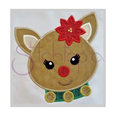 Stitchtopia Reindeer Girl Applique b
