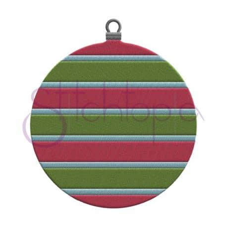 Stitchtopia Christmas Ornament Striped Round