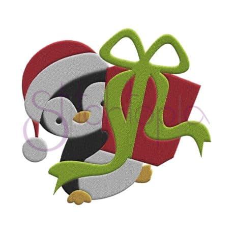 Stitchtopia Penguin Santa with Gift Embroidery Design