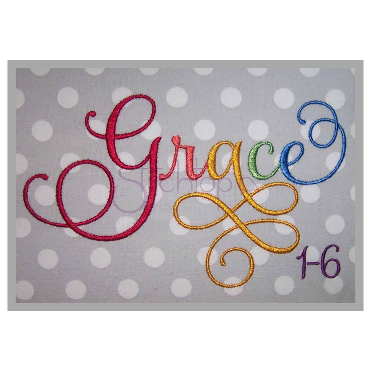 grace embroidery font bundle  1-6