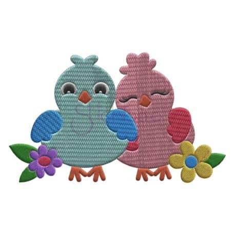 Stitchtopia Bird Embroidery Design Lovebirds