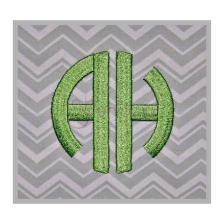 Stitchtopia Circle Monogram 2 Letter Satin Stitch Embroidery Font Set