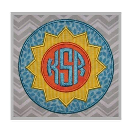 Stitchtopia Circle Sunburst Applique Frame with Circle Monogram