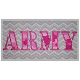 Army Applique Font Set – 4″, 4.5″, 5″, 6″, 7″