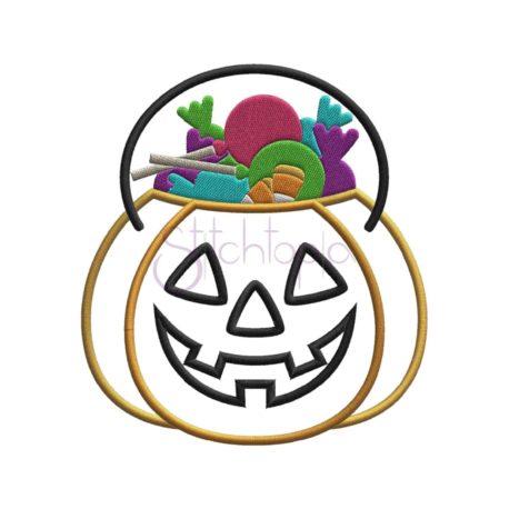 Stitchtopia Jack O'Lantern Candy Bucket Applique c