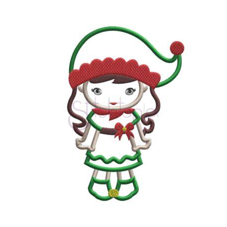 Christmas Christmas Elf Girl Applique b