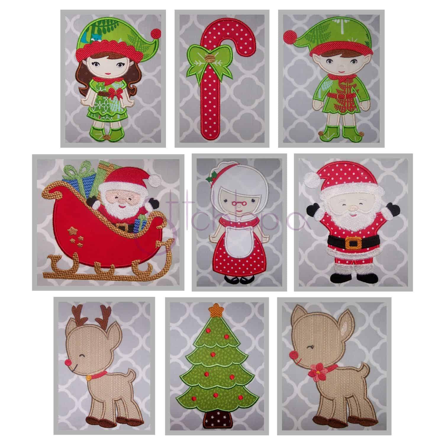 christmas applique design set - Christmas Applique Designs
