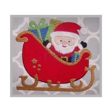 Stitchtopia Christmas Santa Sleigh Applique Design
