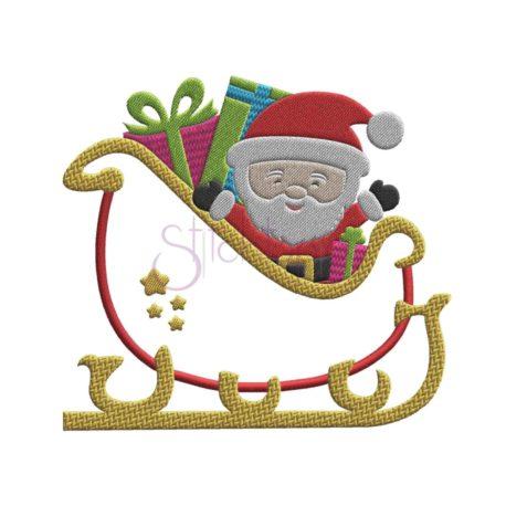 Stitchtopia Christmas Santa Sleigh Applique Design b