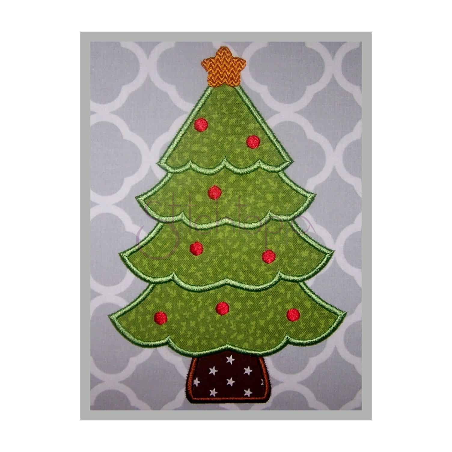Christmas tree applique design stitchtopia for Appliques design