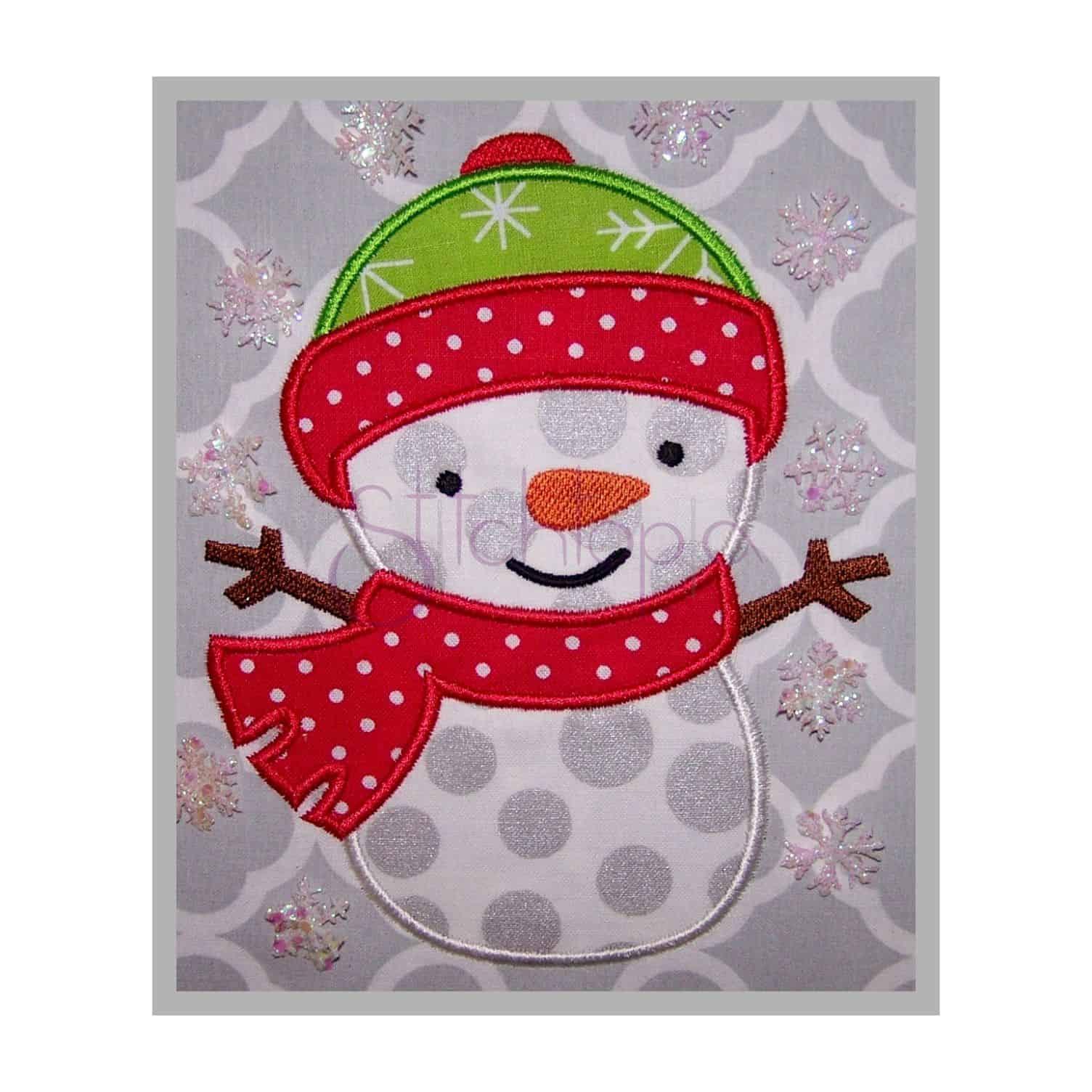 Snowman applique design stitchtopia