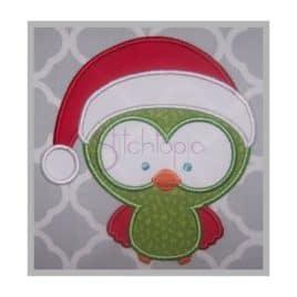 Christmas Owl Santa Applique Design