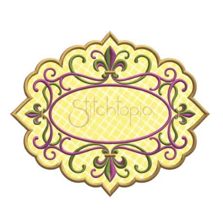 Stitchtopia Fleur de Lis Applique Frame with Fabric
