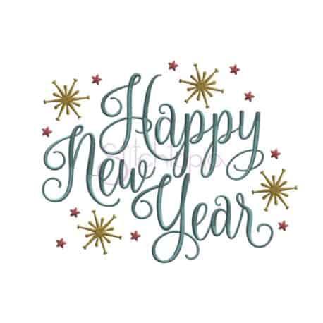 Stitchtopia Happy New Year with Stars Machine Embroidery Design