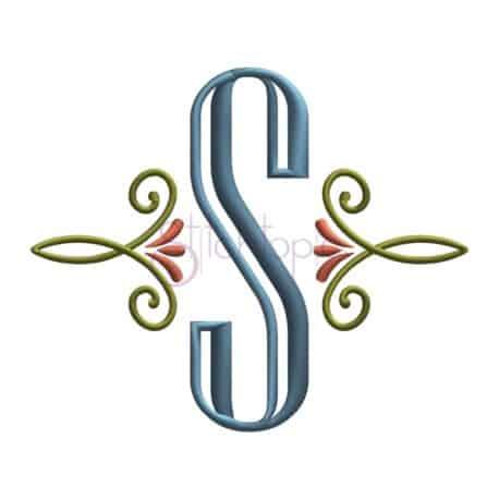 Stitchtopia Swirly Monogram Accent with Engraved Monogram