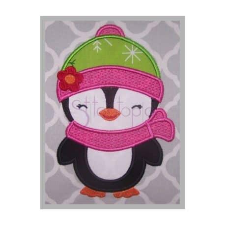 Stitchtopia Penguin Girl Applique Design b