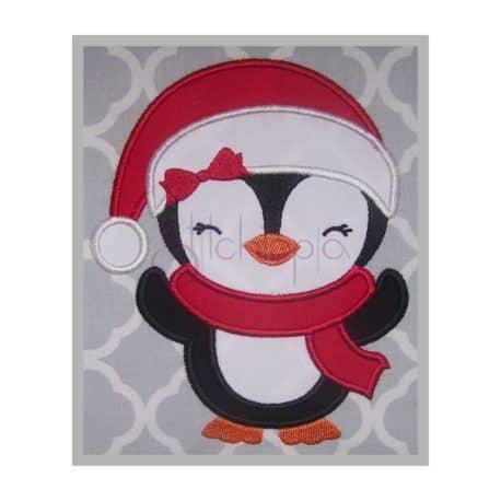 Stitchtopia Santa Penguin Girl Applique Design b