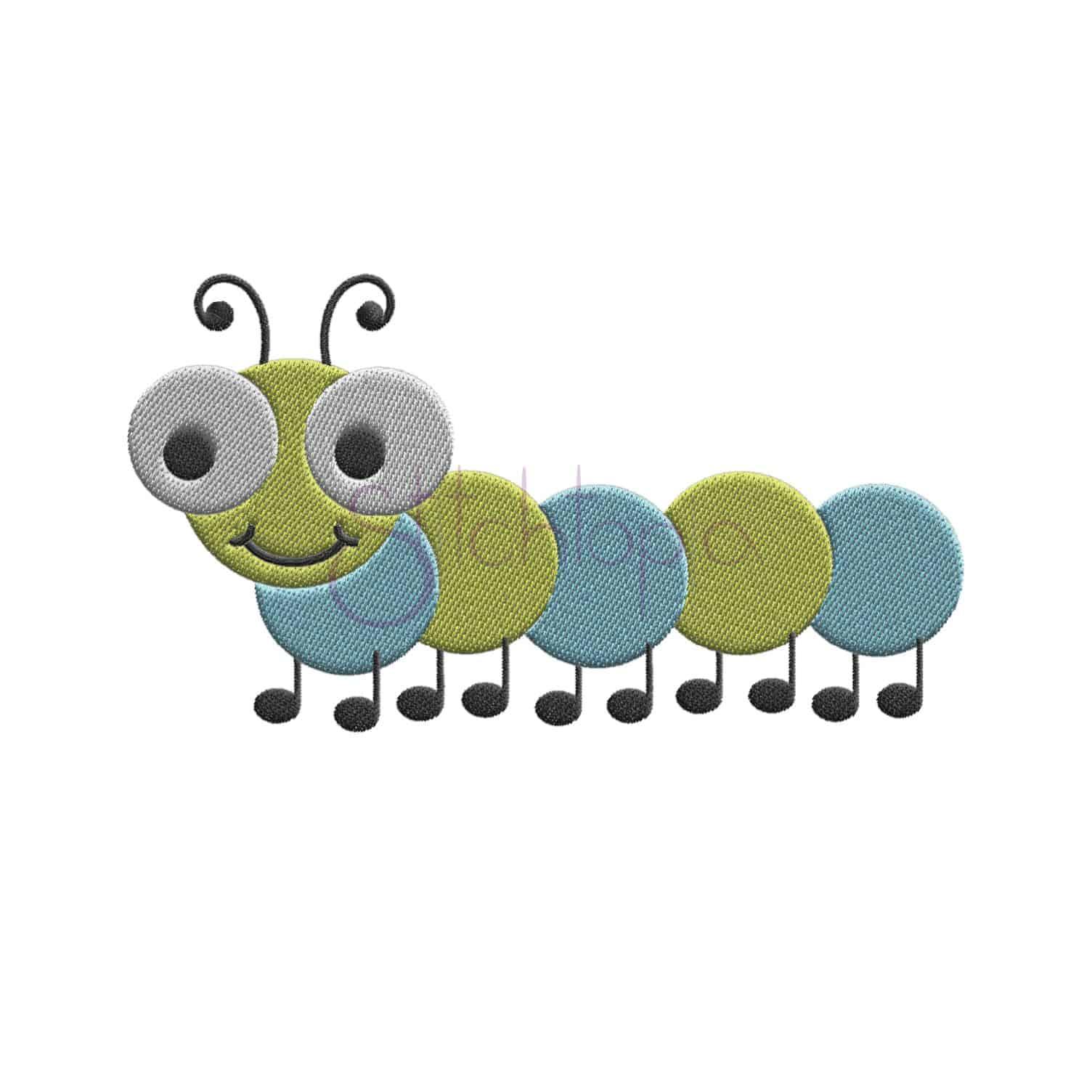 Cute Bugs Caterpillar Embroidery Design Stitchtopia
