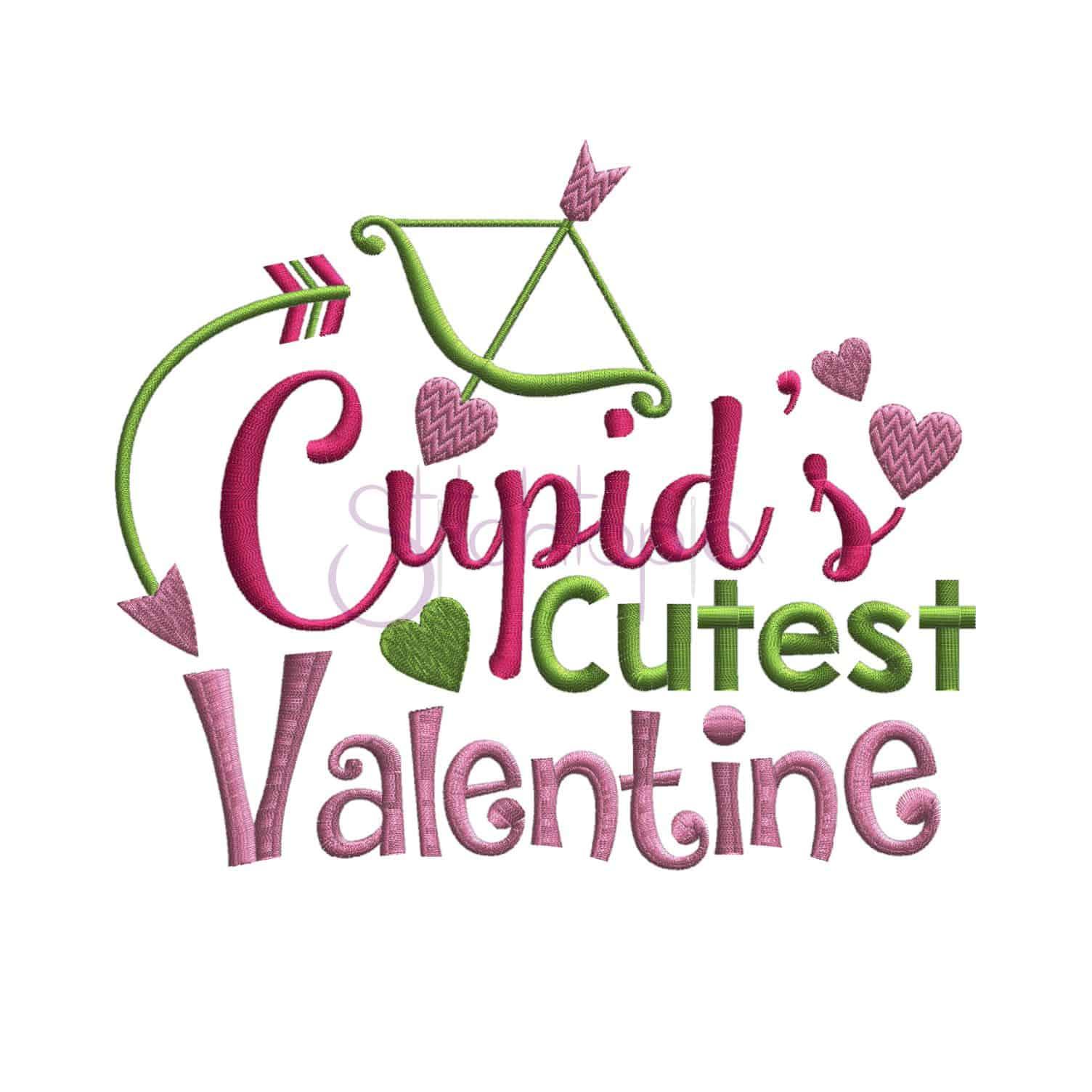 Cupid s cutest valentine embroidery design stitchtopia