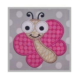Cute Bugs Butterfly Applique Design #1