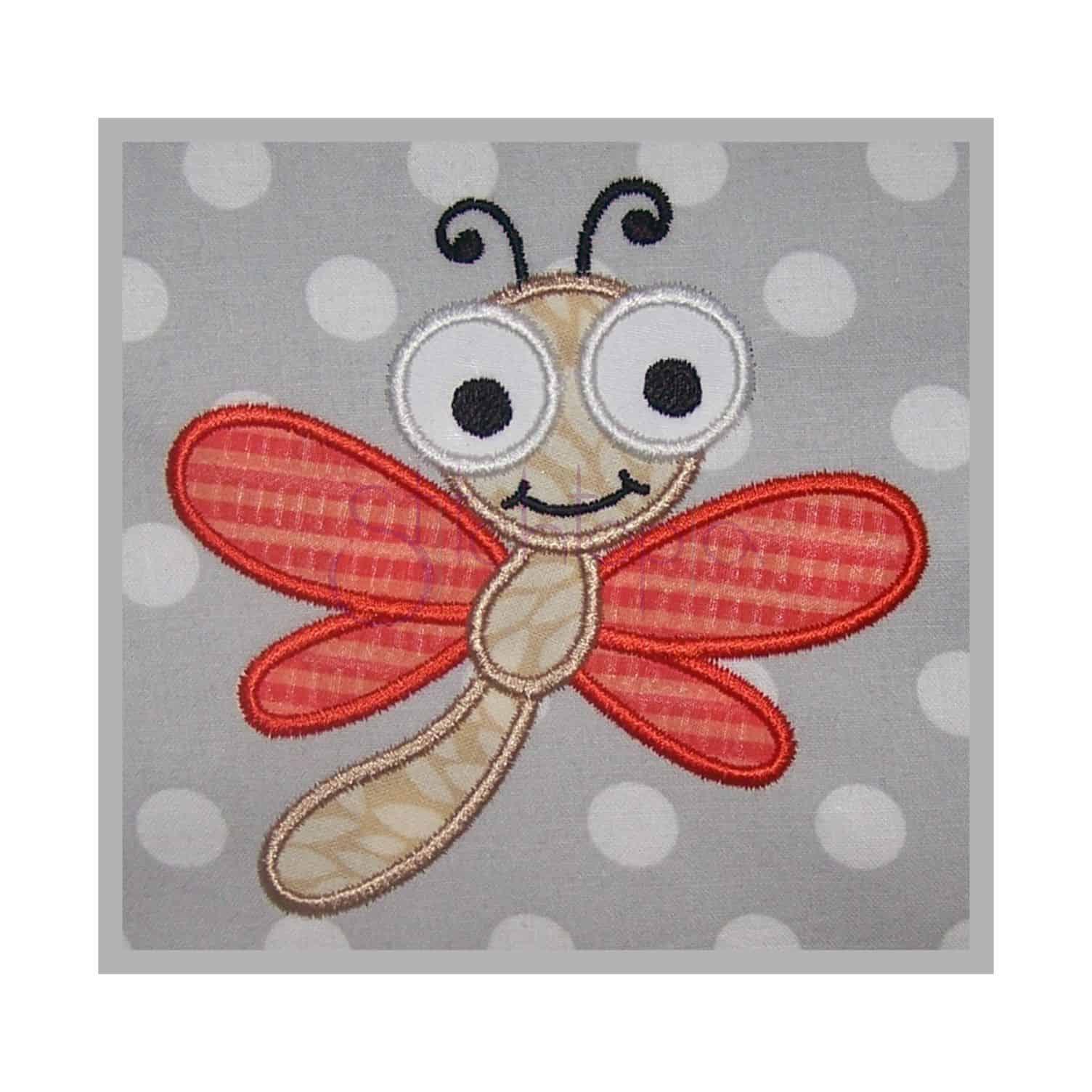 cute bugs dragonfly applique design