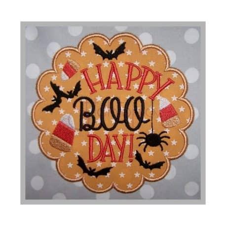 Stitchtopia & HoneybeeSVG Happy Boo Day Applique Design b