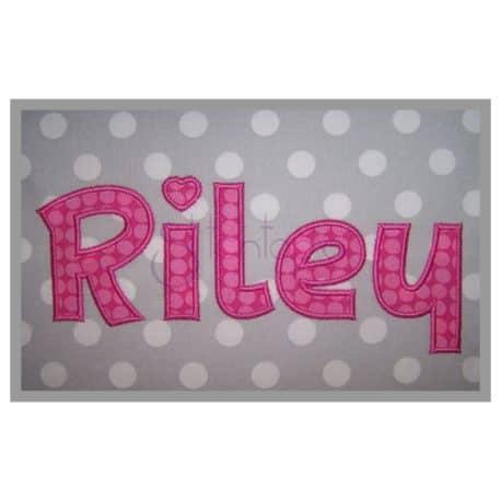 riley machine applique font