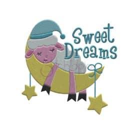 Sweet Dreams Lamb Embroidery Design