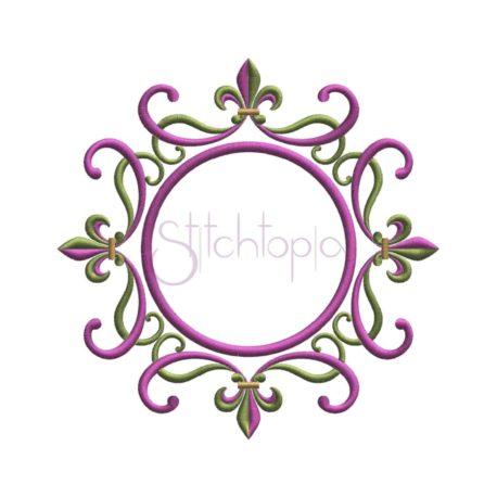 Stitchtopia Fleur de Lis Swirly Round Embroidery Frame