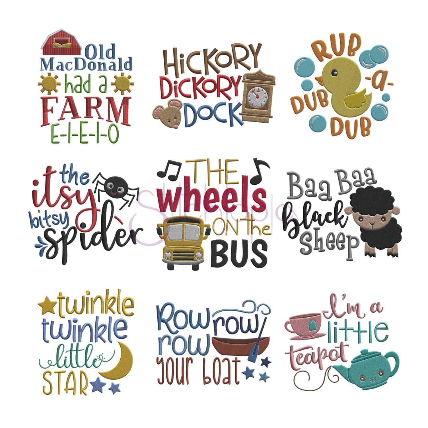 Nursery rhymes embroidery design set stitchtopia