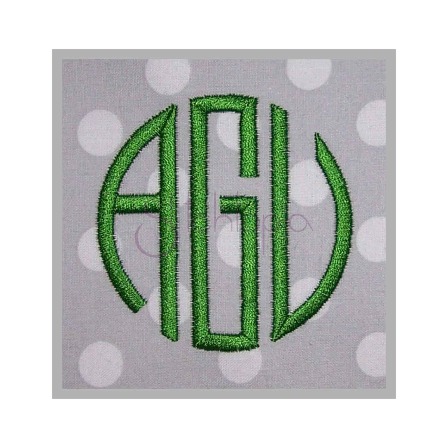 Circle 3 Letter Monogram Font Thin 5 75 1 1 5 2 2 5 Stitchtopia