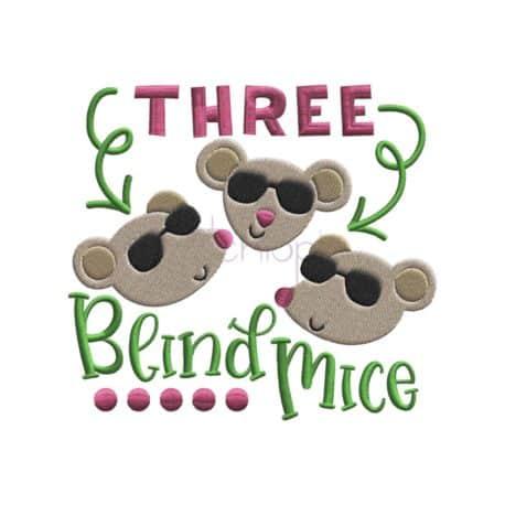 3 blind mice machine embroidery design
